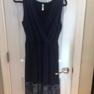 Like New! Navy blue dress with patterned bottom